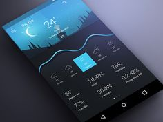 Material Weather App Concept | Dark