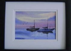 "Maine Watercolor Painting of Two Sailboats.  Kellie aptly named this one ""Serenity""."