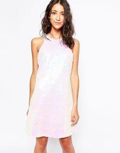 Image 1 ofGlamorous Dress in Iridescent Fringe Sequin