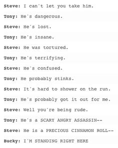 Bucky is like a kid that gets in big trouble and Stepdad Tony is demanding military school/major punishment while Mama Steve is being protective.