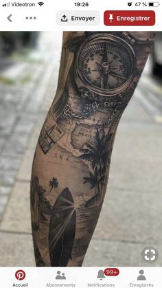 Gebets Tattoo, Surf Tattoo, Tattoo Bein, Forarm Tattoos, Map Tattoos, Finger Tattoos, Fake Tattoo Sleeves, Temporary Tattoo Sleeves, Leg Sleeve Tattoo