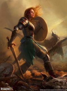 Humana, caucásica, joven, pelo rojo, pelirroja, pelo largo, pelo suelto, guerrera, espada, escudo.