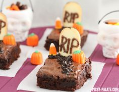Graveyard Brownies. Use the 'absolutely best brownie' recipe from Allrecipes instead of boxed mix.