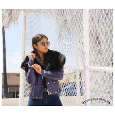 (Ventage Denim) Women Fox Collar Leather Moto Jacket, Available at www.ventagedenim.com