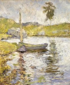 Boat at Anchor was most likely painted in the mid-1890s, for it displays the limited tonal range that characterized Twachtman's landscapes of the period. T...