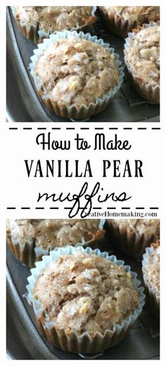 recipe for vanilla pear muffins. One of my favorite fall baking recipes! Easy recipe for vanilla pear muffins. One of my favorite fall baking recipes! Easy recipe for vanilla pear muffins. One of my favorite fall baking recipes! Fun Easy Recipes, Special Recipes, Fall Recipes, Easy Meals, Fun Baking Recipes, Pear Dessert Recipes, Köstliche Desserts, Desserts With Pears, Pear Recipes Breakfast