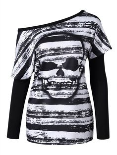Skull T-shirt with Oversleeves - BLACK WHITE 2XL