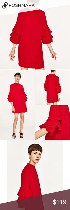 Zara Red Frilled Sleeve Dress A Zara Dresses Mini