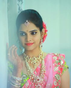 South Indian bride. Diamond Indian bridal  jewelry. Jhumkis.Pale pink and green kanchipuram sari.Braid with fresh jasmine flowers. Tamil bride. Telugu bride. Kannada bride. Hindu bride. Malayalee bride.Kerala bride.South Indian wedding