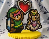 Zelda and Link with heart containter Pixel Art - The Legend of Zelda A Link to the Past Wedding Cake topper with flat base