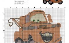 Rusty the old tow truck of Disney Cars cross stitch pattern
