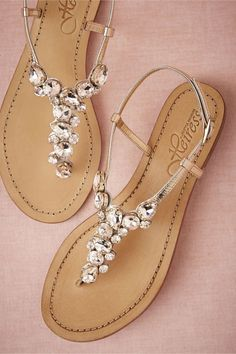 95c728945f1d7 Demure Sandals-Sparkling crystals encrust the fronts of beach-friendly metallic  sandals from Heiress.Exclusive to BHLDN