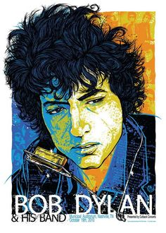 Bob Dylan concert poster  at the Municipal Auditorium, Nashville- Oct 19, 2010 | Artist:  Rhys Cooper