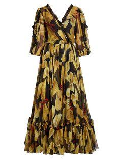 Dolce & Gabbana Pasta-print silk-chiffon midi dress