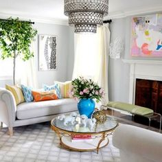 Affordable Home Decor Ideas to Know Interior Home Design : Awesome Living Room Decoration Ideas With White Couch And Glass Round Coffee Table Also Modern Pendant Lamp Ideas Spring Living Room Decor, Affordable Decor, College Apartment Decor, Living Room Decor Apartment, Cheap Apartment Decorating, Cheap Home Decor, Table Decor Living Room, Apartment Decor, Living Decor