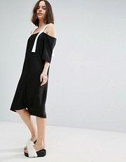 ASOS White | ASOS WHITE Drop Waist T-Shirt Dress With Satin Contrast