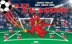 Dragons-Red-41781 digitally printed vinyl soccer sports team banner. Made in the USA and shipped fast by BannersUSA. www.bannersusa.com