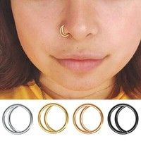 Buy Moon Nose Ring Hoop Indian Nose Ring Septum Ring Nose Jewelry Nose Piercing Small Nose Hoop at Wish - Shopping Made Fun Septum Piercings, Tragus Stud, Nose Ring Stud, Gold Nose Rings, Body Piercing, Septum Ring, Nostril Ring, Indian Nose Ring, Women's Jewelry Sets