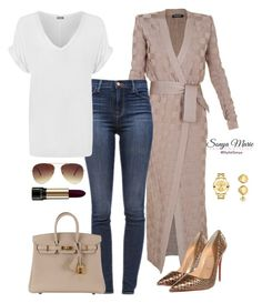 Untitled #189 by stylistsonyamarie on Polyvore featuring polyvore fashion style Balmain WearAll J Brand Christian Louboutin Movado Forever 21 Lancôme Hermès clothing