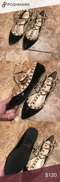 Valentino rockstud flats look alike Bought from China. Very similar to the authentic ones. New with no box. Never worn. They are good for size 7.5. My feet got swollen after pregnancy and I am currently wearing size 8. So they become a little too tight for me. Valentino Shoes Flats & Loafers
