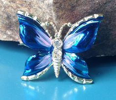 Vintage Butterfly Brooch blue and clear rhinestone by PassingTides