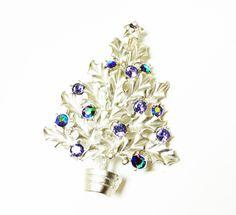 Vintage Blue Rhinestone Christmas Tree - Book Piece Aurora Borealis (AB's) by Silver Starrs - Holiday Jewelry