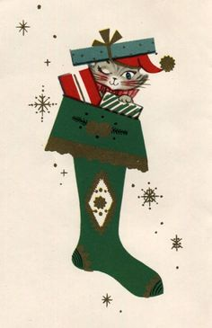 Christmas •~• vintage cat in stocking greeting card