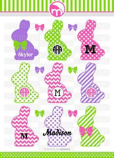 Easter Bunny Monogram Frames SVG Cut Files for Vinyl by MoonMinted