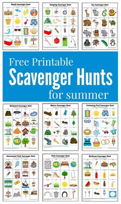Hunts {Free Printables} These summer themed scavenger hunts will keep your kids busy and entertained this summer.These summer themed scavenger hunts will keep your kids busy and entertained this summer. Summer Activities For Kids, Summer Kids, Learning Activities, Preschool Activities, Games For Kids, Crafts For Kids, Family Activities, Kids Fun, Summer Daycare