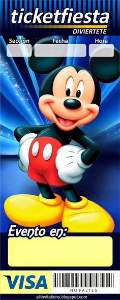 Invitacion Ticketmaster Mickey Mouse