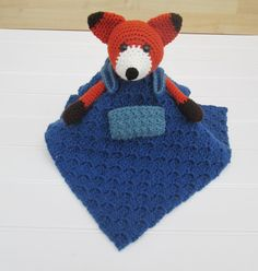 Crochet Orange Brown and White Fox with Blue by SugarandSpiceKate