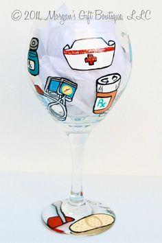 SUPER cute nurse wine glass