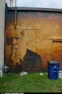 Graffiti or art? Street art/Graffiti inspiration Scratched names (bathroom wall) (by ll_browneyes_ll) Graffiti Art 3d Street Art, Best Street Art, Amazing Street Art, Street Art Graffiti, Amazing Art, Awesome, Street Artists, Banksy, Art Amour