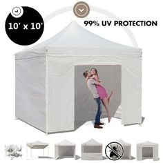 Ez Pop up Canopy 10 X 10 Easy Commercial Fair Vending Tent Shelter (white)