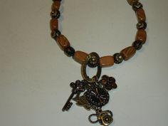 Camel Jasper Necklace with Charm Pendant by MoonwatersHaven Acrylic Beads, Jasper, Camel, Bronze, Gemstones, Pendant, Bracelets, Gold, Jewelry
