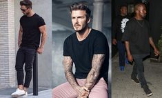 How To Wear A Black T-Shirt - Modern Men's Guide Man Images, Modern Man, Wearing Black, Mens Fitness, Crime, Sporty, Stylish, Mens Tops, T Shirt