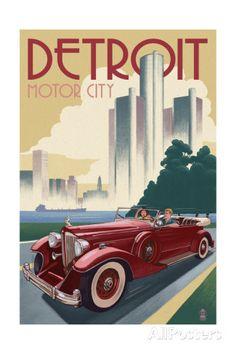 Detroit, Michigan - Vintage Car and Skyline Posters tekijänä Lantern Press…