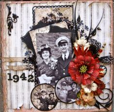 1942 ~ WWII era wedding page with lovely photo framing. The splash of red really sets off the b/w photos beautifully.