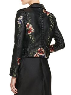 Moto Jacket with Flowers and Studs - Lori's Designer Shoes, The Sole of Chicago