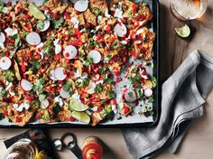 If you have young kids serving themselves, lift the nachos off the pan with the parchment paper (and remove the hot pan from the table). For the creamiest nacho sauce, start with a block of cheese and shred it yourself. Healthy Dishes, Healthy Cooking, Healthy Recipes, Eating Healthy, Healthy Snacks, Mexican Food Recipes, Beef Recipes, Nacho Recipes, Evaporated Milk Recipes