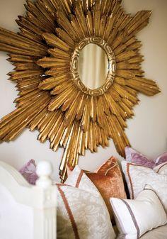double sunburst mirror + velvet pillows / elisabeth jordan. This is fabulous