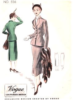 1950s STUNNING Suit Pattern VOGUE COUTURIER Design 556 Beautiful Fitted Jacket Slim Skirt Bust 34 Vintage Sewing Pattern