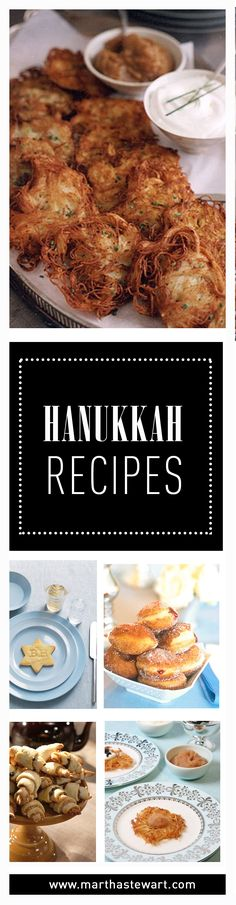 Celebrate the Festival of Lights with an assortment of Hanukkah foods, including latkes, jelly doughnuts, and rugelach.
