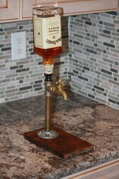 A handmade brass pipe fitting drink dispenser. Self venting head commonly used… Whiskey Dispenser, Alcohol Dispenser, Drink Dispenser, Recycled Furniture, Handmade Furniture, Wood Furniture, Whisky Spender, Brass Pipe Fittings, Christmas Presents For Dad
