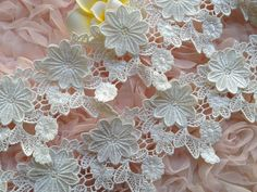 White Wedding Lace, 3D Flower Embroidery Lace, 2 Layers Flower Lace Trim, White Lace Fabric    ◆ This listing is for 1 Yard. ◆ Measuring is about