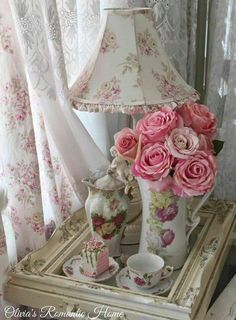 A lovely setting! I believe I have this lamp shade - Susan