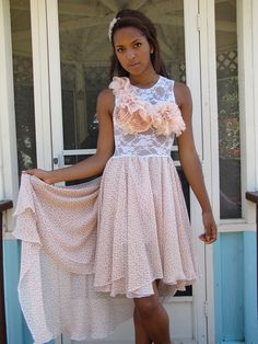 Blush Pink Chiffon and sheer lace floral embellished by CGHeaven, $68.00
