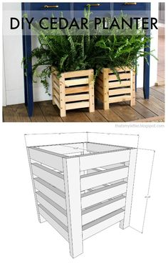 DIY tutorial to build a cedar scrap wood planter. Save those cedar scraps and make a planter with slats for indoors or outdoors. #planter #freeplans
