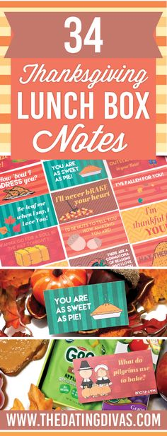 Free Printable Thanksgiving lunch box notes and jokes. http://www.thedatingdivas.com/love-notes/100-holiday-themed-lunch-box-notes-2/