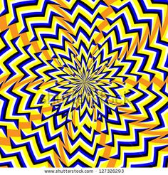 Fractured Flower : An optical illusion of the illusory motion variety.   abstract, motion,illusion,optical illusion,blue,yellow,orange, anomalous motion, flower